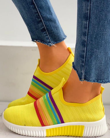 Colorblock Breathable Knitted Casual Sneakers