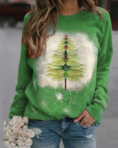 Christmas Tree Print Long Sleeve Sweatshirt