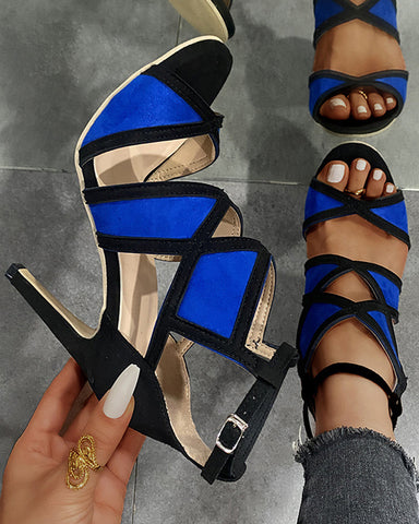 Colorblock Pointed-toe High Heel Cut-out Sandals