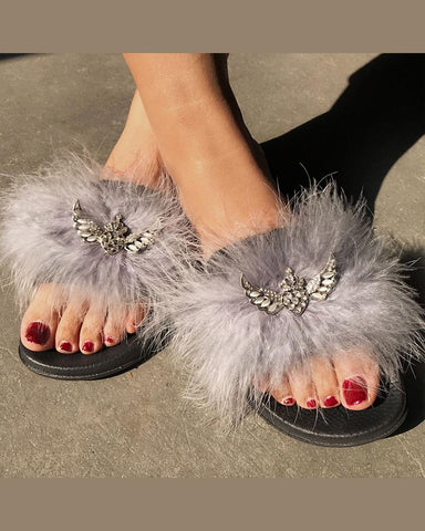 Peep Toe Fluffy Flat Sandals