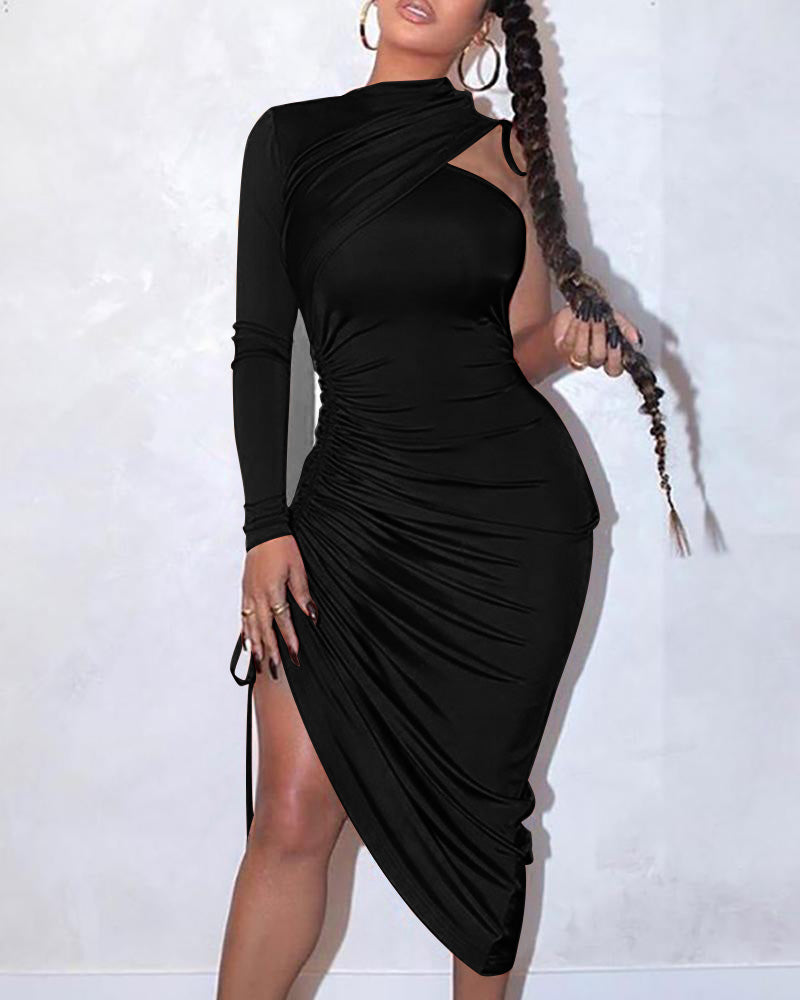 One Shoulder Drawstring Ruched Dress