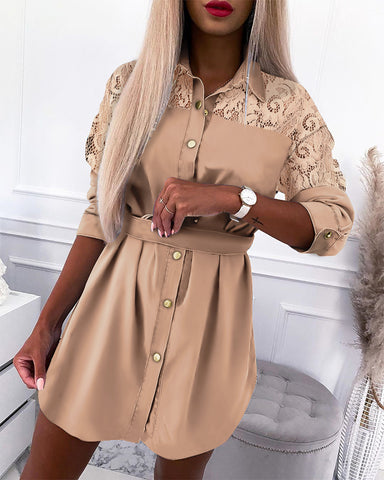 Guipure Lace Button Design Shirt Dress