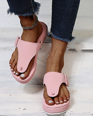 Round-toe Solid Color Toe Post Platform Slippers