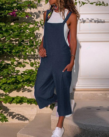 Solid Color Linen Overalls