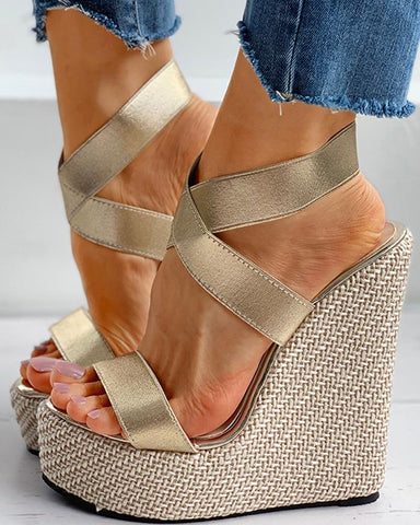 Solid Satin Peep Toe Wedge Sandals