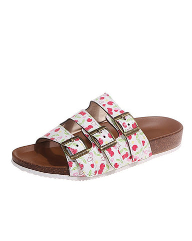 Multicolor Snakeskin Double Banded Upper Flat Sandals Slippers
