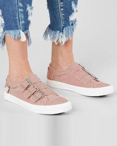 Solid Horizontal Buckle Canvas Sneakers