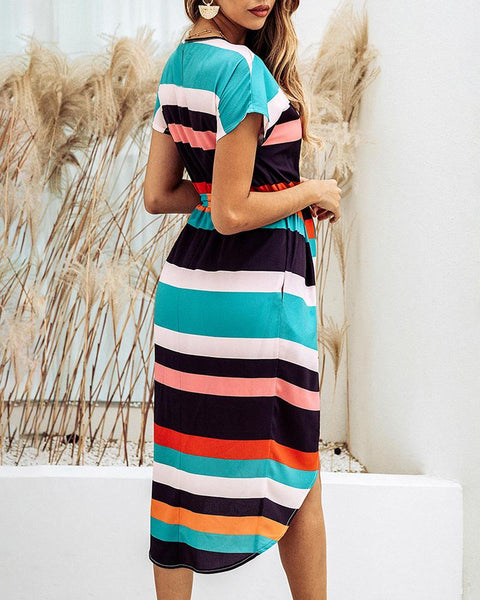 Square Striped Lace up Print Dress