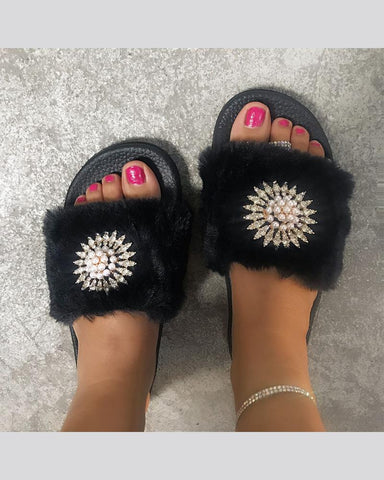 Open-toe Fur Striped Sun Flower Pattern Platform Slippers