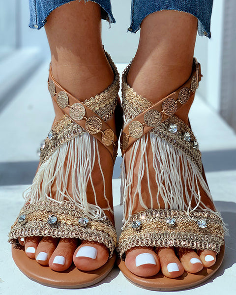 Studded Crisscross Tassel Flat Sandals