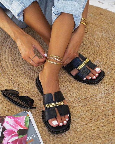 Retro Chain Peep Toe Flat Sandals