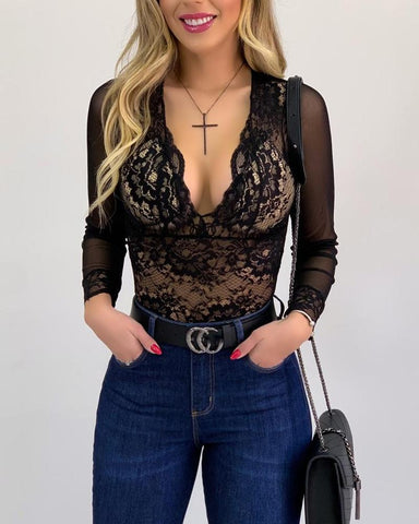 Lace Backless Long Sleeve Bodysuit