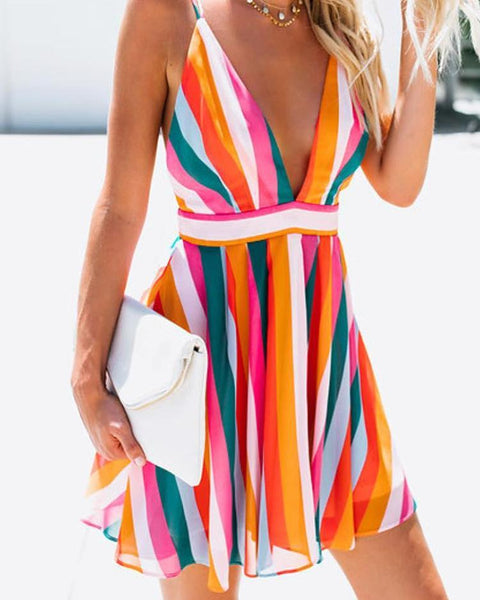 Rainbow Striped Spaghetti Strap Backless Mini Dress