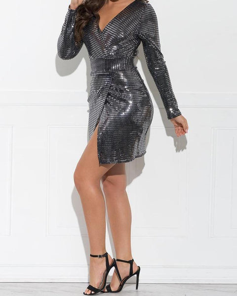 Open Back Wrap Slit Sequin Party Dress