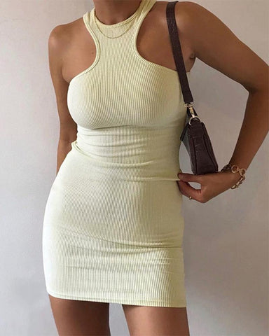Solid Color Sleeveless Mini Dress