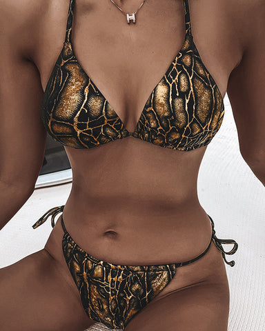 Snakeskin Strappy Bra With Strappy Panties Bikini Sets