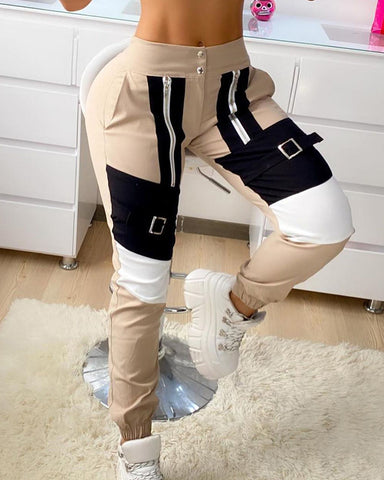 Buckle Zipper Design Colorblock Casual Cargo Pants