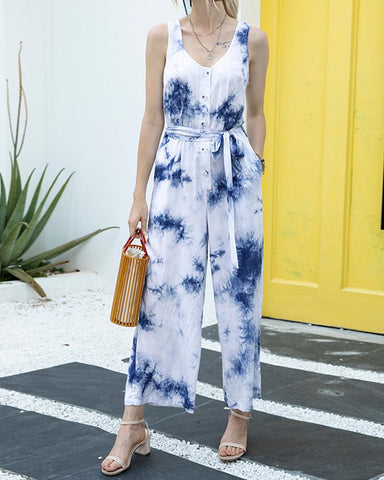 Tie Dye Button-up Sleeveless Jumpsuit