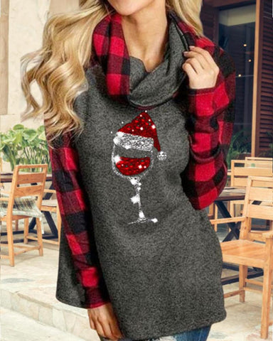 Christmas Printing Stitching Plaid Long Sleeve Sweater