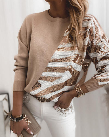 Colorblock Sequins Casual Long Sleeve Sweater