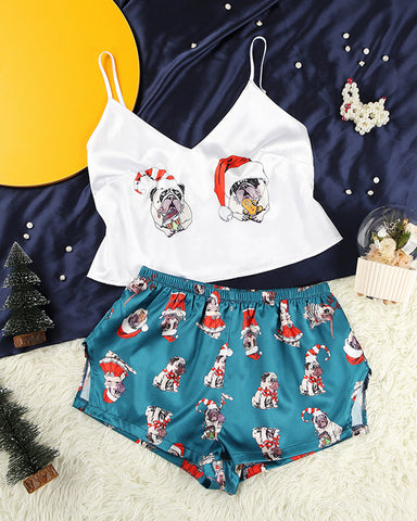 Christmas Patterns Strap Tanks With Shorts Suit Sets