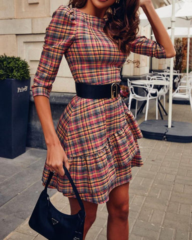 Plaid Half Sleeve Ruffles Skinny Waist Dress