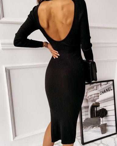 Solid Color Backless Long Sleeve Slit Dress