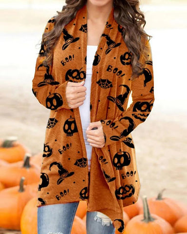 Halloween Pumpkin Letter Skull Print Long Sleeve Cardigan
