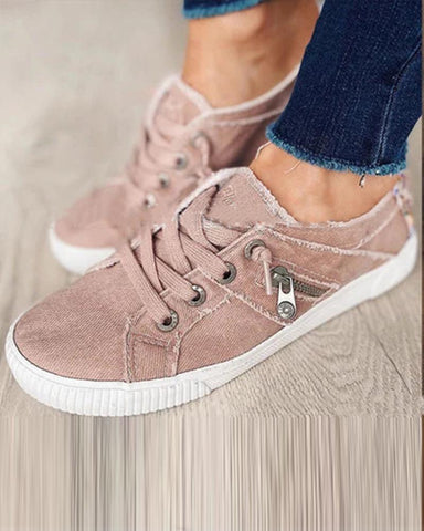 Solid Side Zipper Lace-up Canvas Sneakers