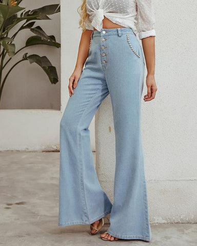 Solid High Waist Loose Bell Pants