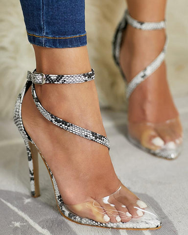 Snakeskin Pointed Heeled Sandals