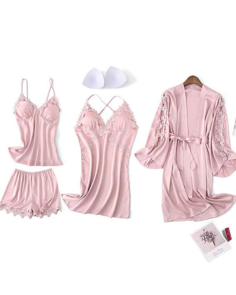 Solid Lace Trim Robe & Cami Set