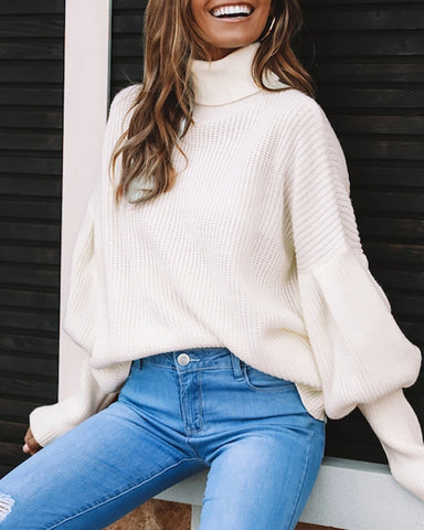 High Neck Lantern Sleeve Solid Sweater