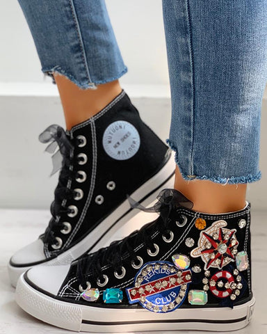 Rhinestone Mesh Lace-Up Casual Sneakers
