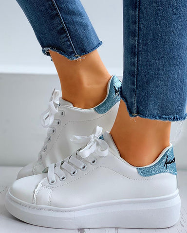 Glitter Letter Embroidery Lace-Up Casual Sneakers