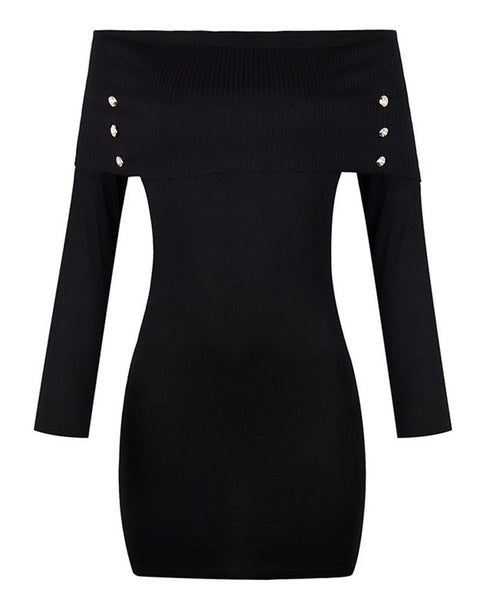 Solid Buttons Long Sleeve Off Shoulder Skinny Dress