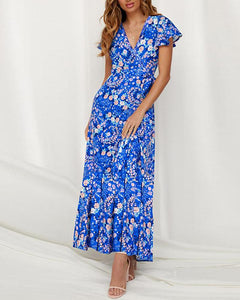 Floral V Neck Tie Waist Maxi Dress