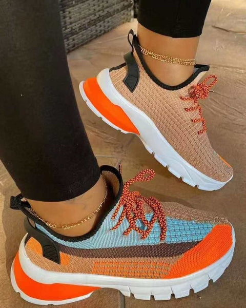 Colorblock Round-toe Breathable Lace-up Sneakers