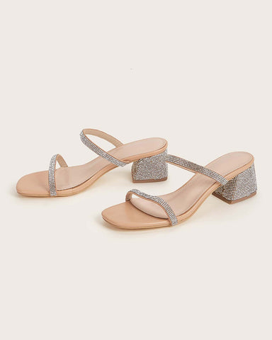 Glitter Strap Open-toe Block Heel Sandals