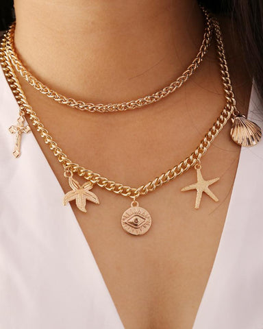 Geometric Metal Starfish Multilayer Necklace