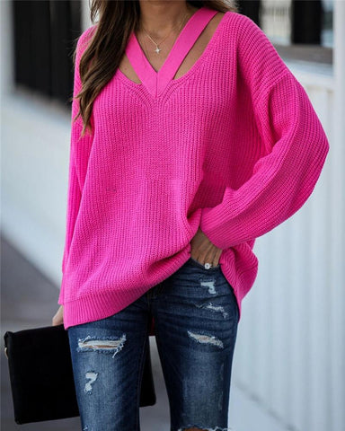 Cut Out V-neck Loose Sweater