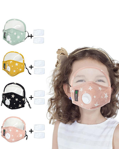 Star Print Valve Outdoor Face Mask With Eyes Shield