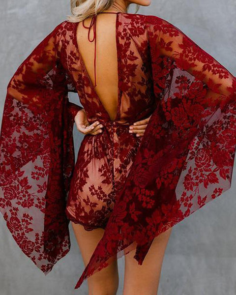 New Deep V Sexy Trumpet Sleeve Lace Jumpsuit