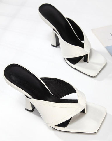 Square-toe Solid Color Heel Sandals