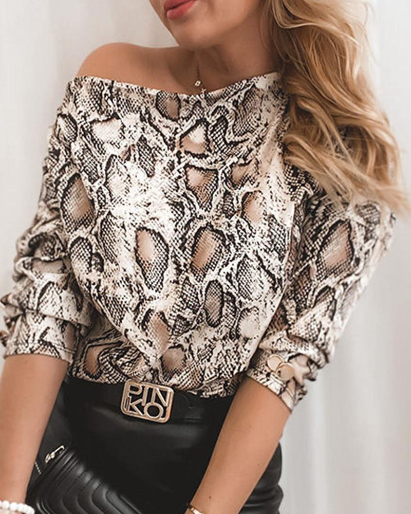 Snakeskin Print Long Sleeve Blouse
