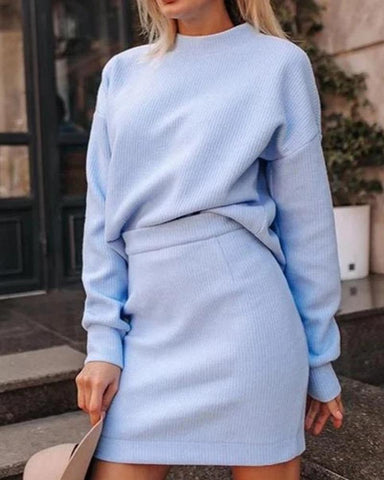 Solid Long Sleeve Knitted Sweater With Skinny Mini Skirts Suit Sets