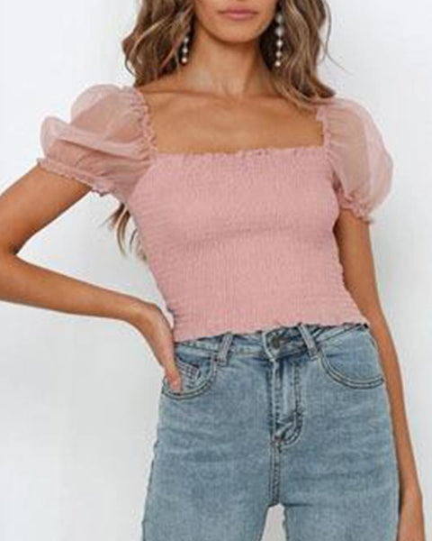 Square Neck Mesh Puff Sleeve Top