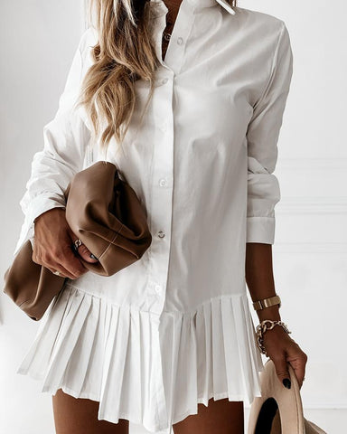 Plain Button Design Pleated Shirt Dress