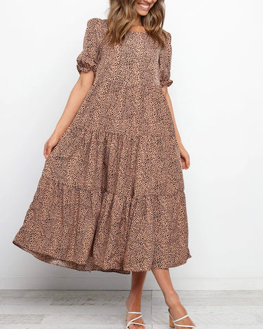 All Over Print Short Sleeve Pleated Long Dress