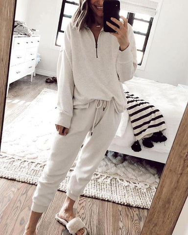 Solid Color Lace-up Long Sleeve Pajamas Sets
